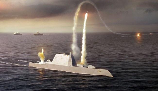 Mô phỏng quá trình tấn công của tàu khu trục tàng hình lớp Zumwalt, tàu chiến mặt nước hiện đại nhất thế giới của Mỹ. Ảnh: US Navy
