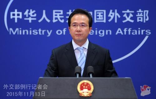 Người phát ngôn Bộ Ngoại giao Trung Quốc Hồng Lỗi. Ảnh: MFA
