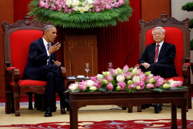 Tong Bi thu Nguyen Phu Trong tiep Tong thong Obama hinh anh