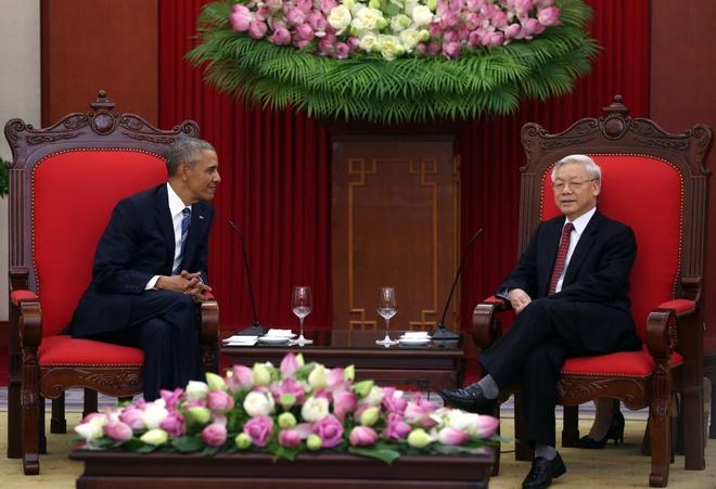 Tong thong Obama hoi kien Tong Bi thu Nguyen Phu Trong hinh anh