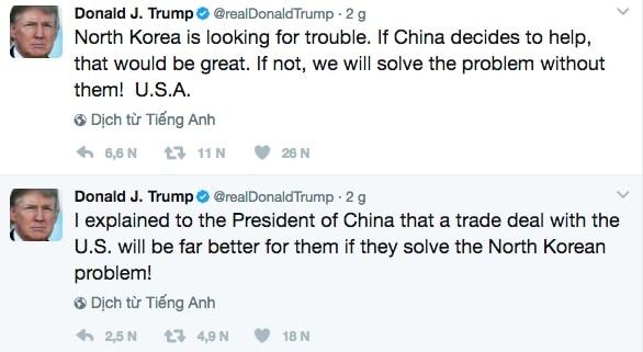 Trump lai doa 'tu xu ly' Trieu Tien ma khong can Trung Quoc hinh anh 1