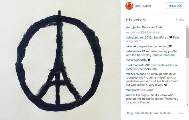 Chan dung chang trai ve bieu tuong 'Peace for Paris' hinh anh 2