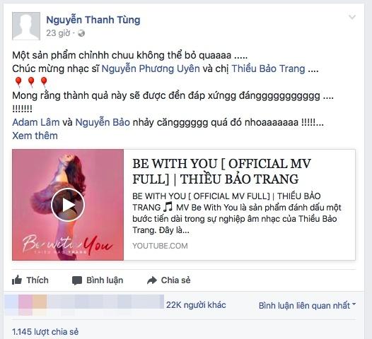 MV nua ty cua Thieu Bao Trang bi nhieu 'dislike' vi fan Son Tung hinh anh 2
