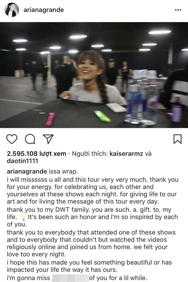 Ariana Grande viet tam thu cam on fan sau khi ket thuc tour dien hinh anh 1