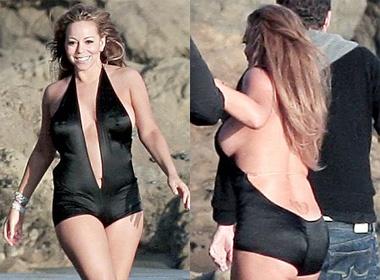 Mariah Carey lo nguc chay xe voi bikini hinh anh