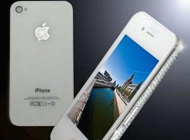 iPhone 4 mau trang dinh kim cuong hinh anh