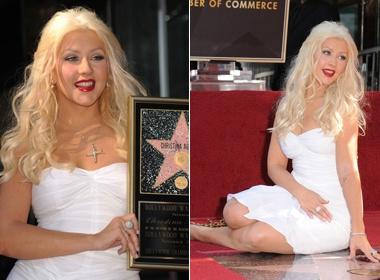Christina Aguilera hanh dien nhan ngoi sao Danh vong hinh anh