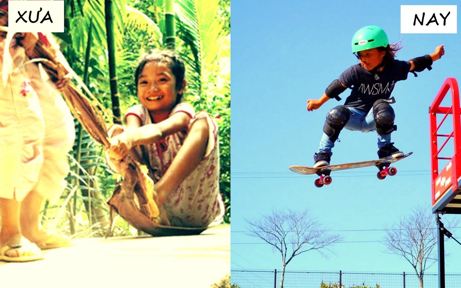 Kéo mo cau là trò chơi gắn liền tuổi thơ của nhiều 8X, 9X. Trong khi đó,  môn trượt ván mới phổ biến tại Việt Nam trong vài năm trở lại đây.