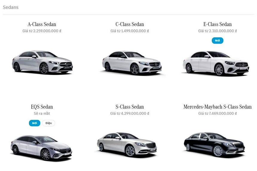 Mercedes EQS xuất hiện trong danh mục sản phẩm của Mercedes-Benz Việt Nam. Ảnh chụp màn hình.