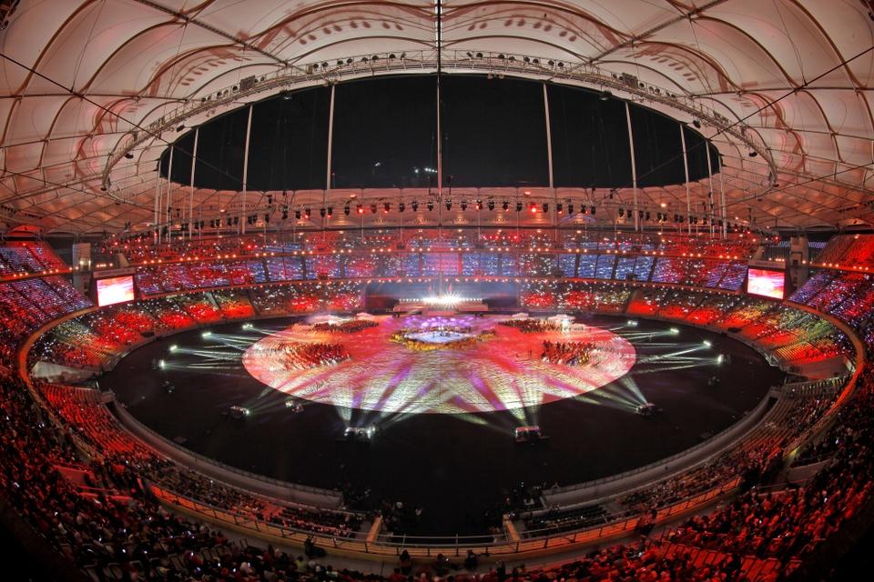 Năm 2017, sân vận động quốc gia Bukit Jalil là địa điểm diễn ra lễ khai mạc SEA Games 29, khi Malaysia tiếp tục là nơi đăng cai tổ chức sự kiện thể thao lớn nhất Đông Nam Á. Ảnh:Riedel Communications.
